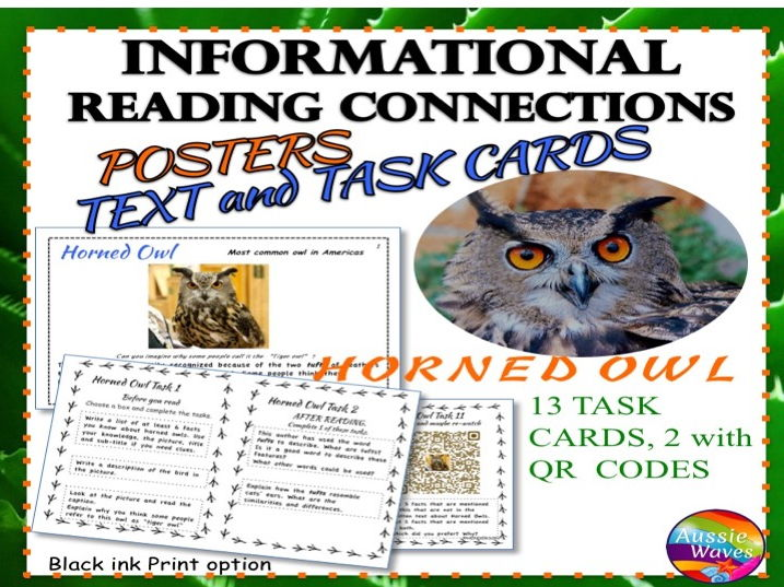 Reading Non-Fiction Informational Text and Task Cards BIRDS HORNED OWLS