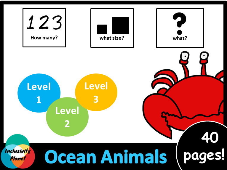 Ocean Animals HOW MANY, WHAT SIZE, WHAT? Adapted book Level 1, Level 2 and Level 3