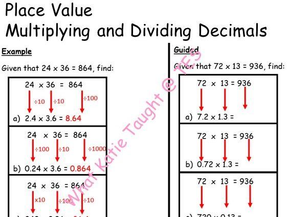 Place Value: Multiply & Divide Decimals - Scaffolded Worksheet