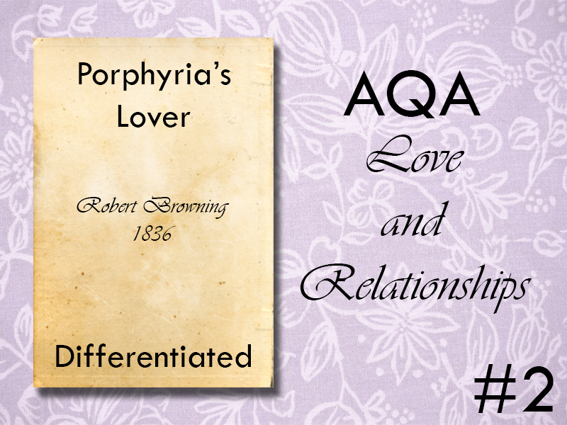AQA Poetry Differentiated - Porphyria's Lover (Love and Relationships Unit)(KS4)