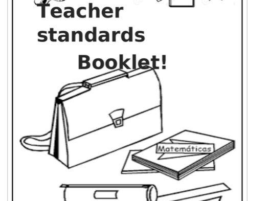 Teacher standard booklet with evidence ideas and checklist