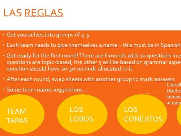 GCSE Spanish Educational Quiz