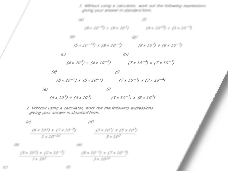 Standard Form - multiplication and division (non-calculator)