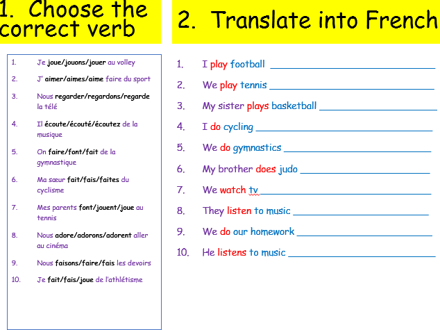 KS3 French - The present tense - Mon temps libre
