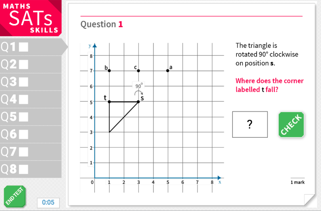 Rotation of shapes - KS2 Maths Sats Reasoning - Interactive Exercises