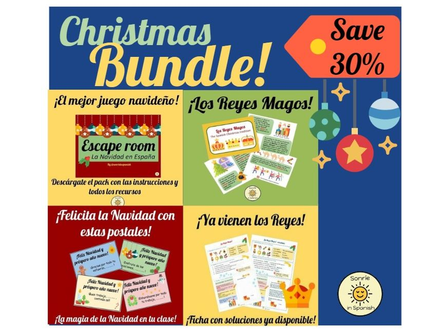 Pack Navidad. Christmas Bundle. Navidad Escape room, Reyes Magos worksheet and lesson and Spanish Christmas Cards