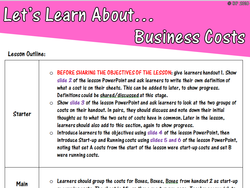 Start-Up and Running Costs - GCSE Business Studies - Full lesson, lesson plan and 3 handouts!
