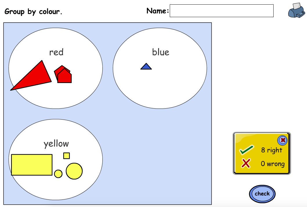Shape Sorting Interactive Game - KS1 Geometry