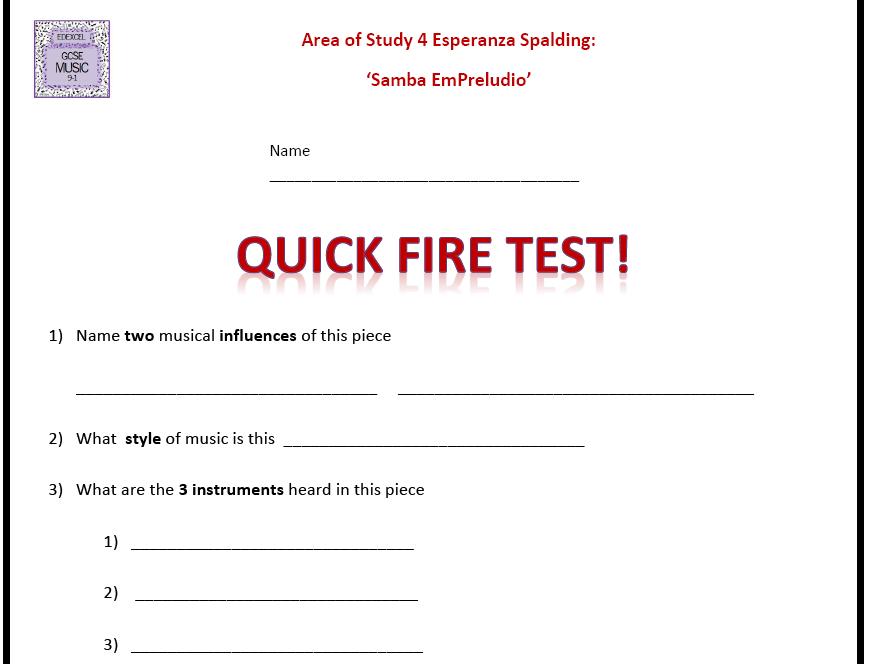 Quick Fire Test Release Esperanza 'Samba Em Preludio' - GCSE 9-1 Edexcel Music