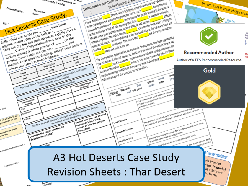 AQA GCSE 9-1 : Thar Desert, Hot Deserts, A3 Double Sided Revision Sheet.