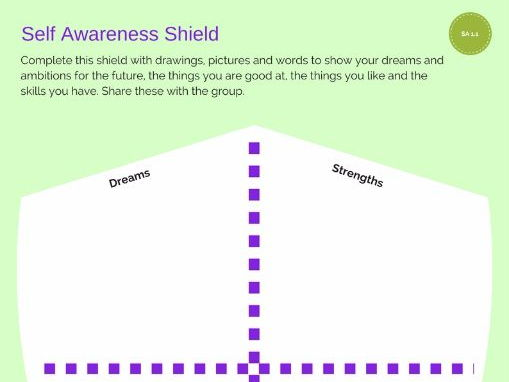 Self-Awareness Shield for Self Awareness unit in SQA Personal Development Award