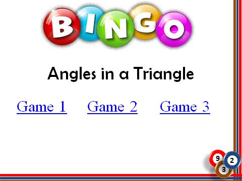 BINGO: Angles in a Triangle