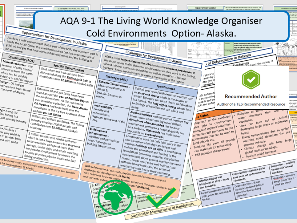 AQA 9-1 Knowledge Organiser and Revision Summary Booklet - The Living World - Cold Environments.