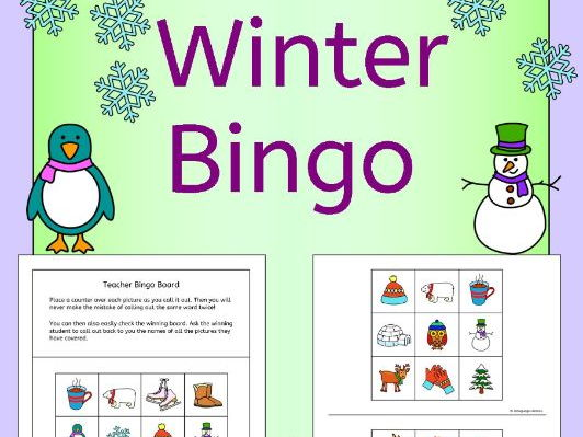 Winter Bingo for EFL EAL ESL MFL
