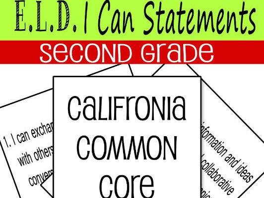 EDL I CAN Statements Second Grade California Common Core Standards