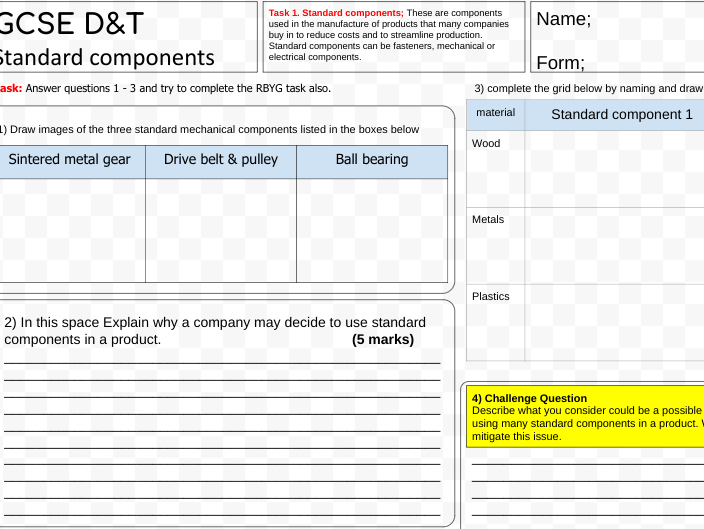 Standard components for GCSE D&T