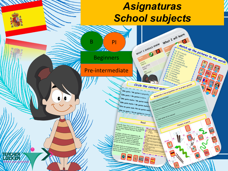 Spanish School Subjects (lesson + exercices) / Asignaturas