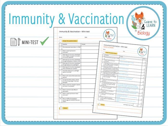 Immunity & Vaccination - Mini-test (KS5)
