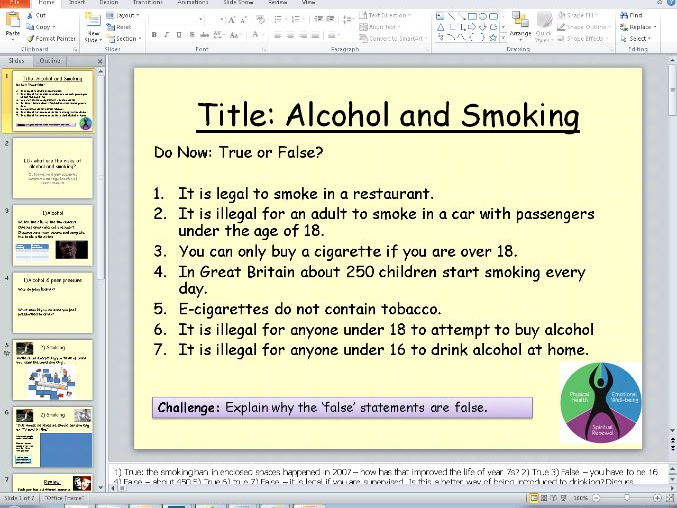 PSHE Health - alcohol and smoking lesson 3