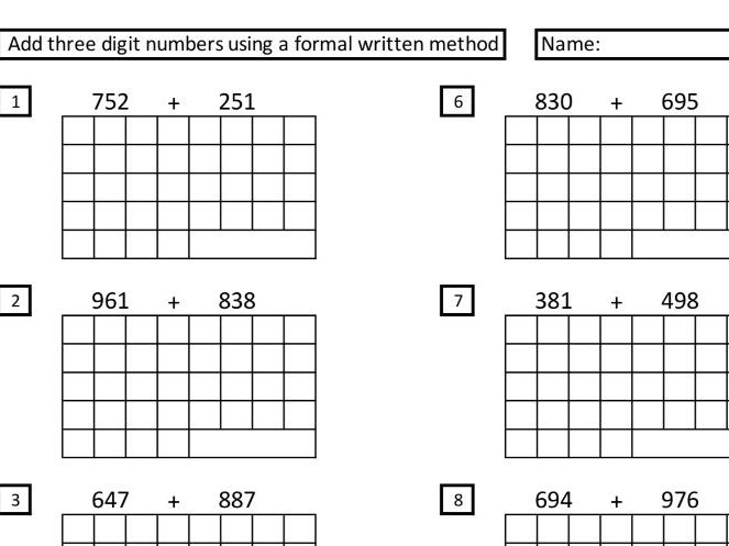 adding 3-digit numbers using formal written methods repeatable sheet.