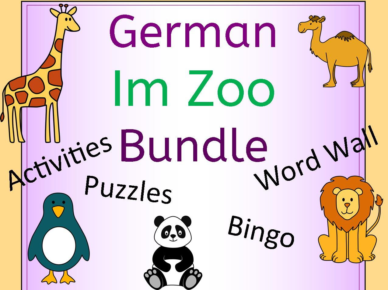 German Zoo Animals Im Zoo Bundle - Activities, Puzzles, Word Wall, Bingo