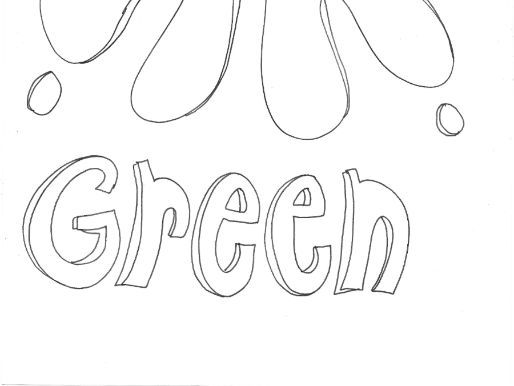 Green: Colours: Splodge Colouring Page