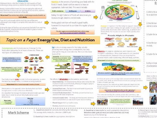 AQA GCSE PE (9-1) Energy use, Diet and Nutrition - Topic on a Page!