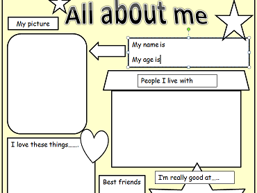 KS1/2 Transition and new pupils :  All about me blank information template.
