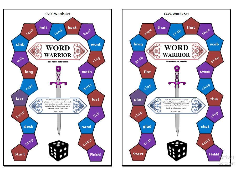 Word Warrior - Reading Board Game [CVCC & CCVC Words]