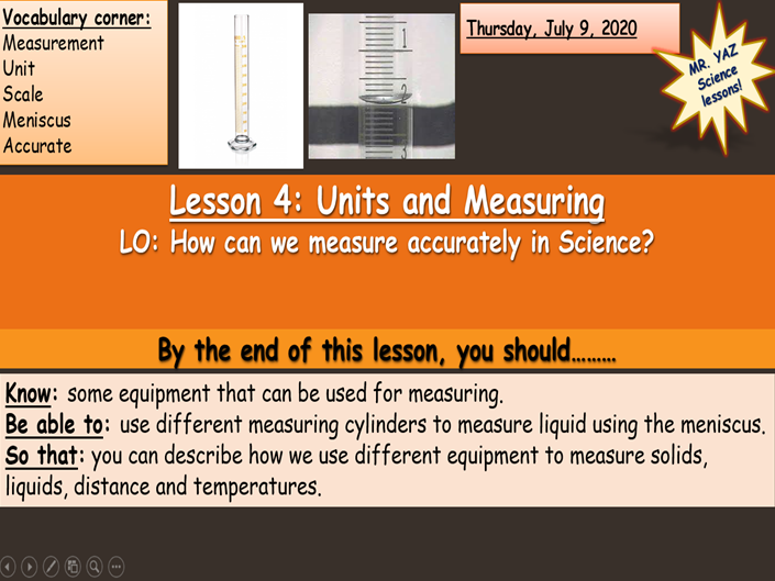 Units and Measuring in Science Lesson