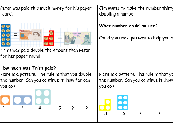 Numicon doubling Presentation IWB and mastery questions worksheet, some  Numicon and money