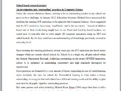 School based Research project: An investigation into 'outstanding' practices in Computer Science