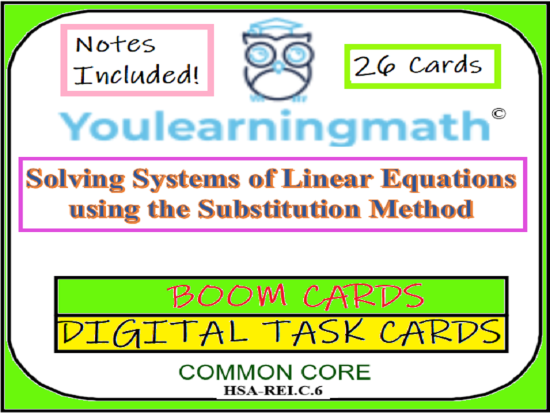 Solving Systems of Linear Equations by Substitution: DIGITAL BOOM Cards + 20 Printable Task Cards