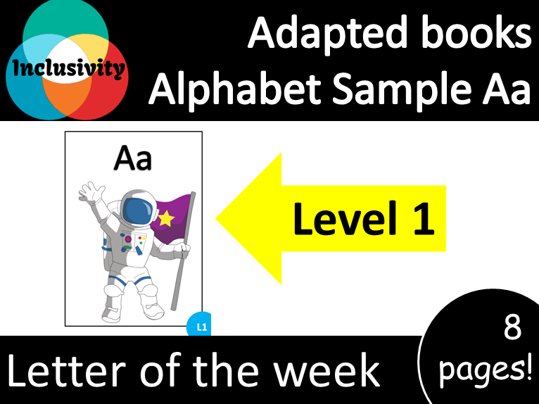 Adapted book Alphabet Sample letter Aa Level 1