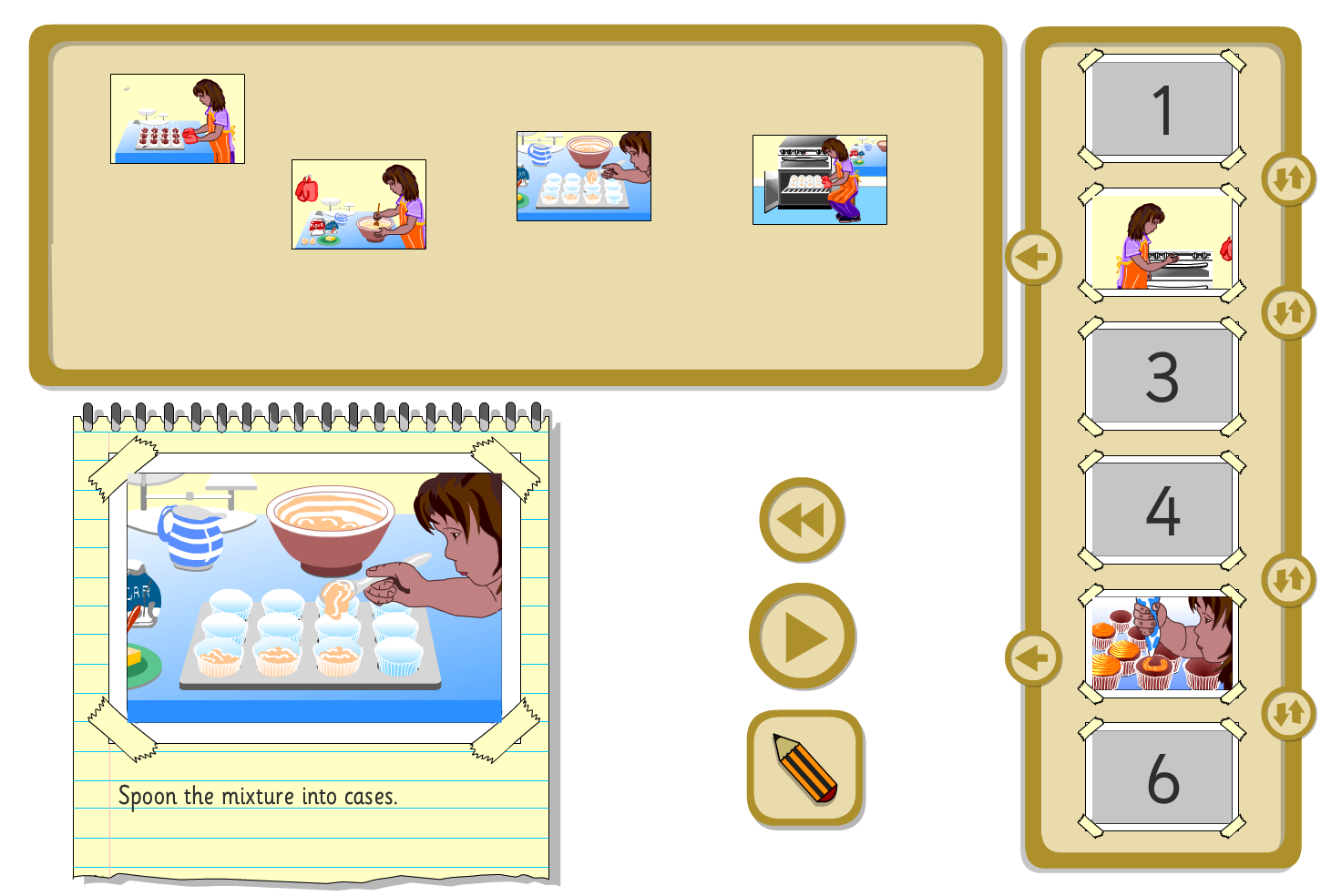 Interactive Sequencer - Making Fairy Cakes - KS1 Literacy