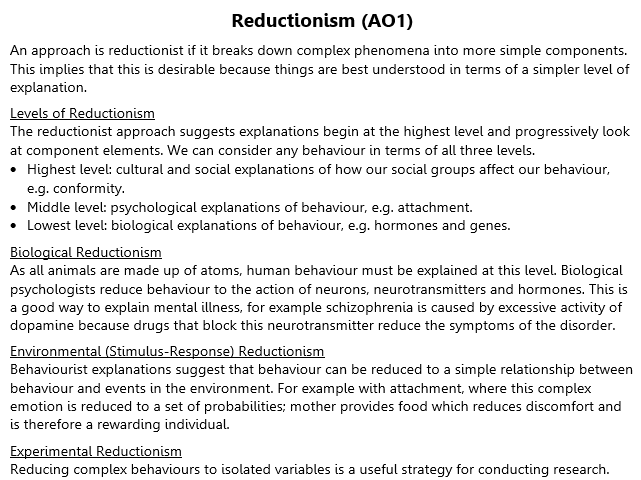 Holism and Reductionism Revision (A2 Psychology)