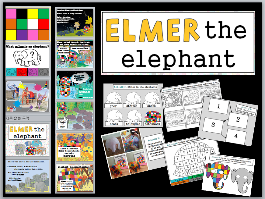 Elmer the Elephant simplified storytelling ppt and activity ideas KS2 EFL