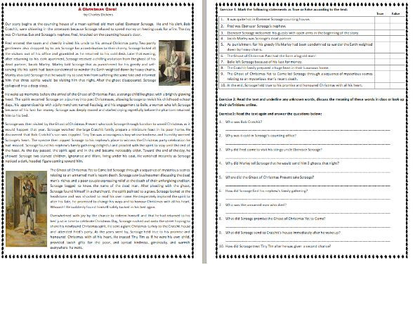 A Christmas Carol  - by Charles Dickens - Reading Comprehension Story / Worksheet
