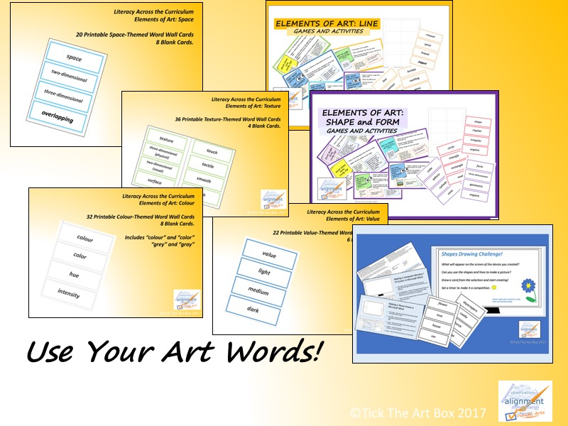 Elements of Art Vocabulary Word Wall Cards: Use Your Art Words!