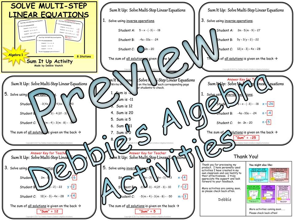 Solve Multi-Step Linear Equations Sum It Up Activity