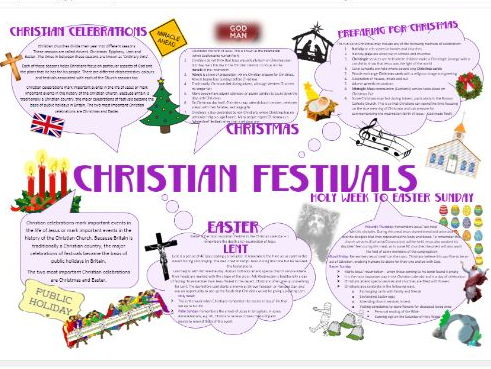Christianity: Practices: Christian Festivals Learning Mat