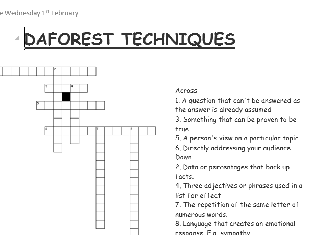 DAFOREST homework crossword and table