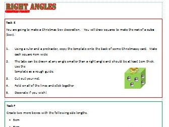 Finding and Measuring Right Angles Christmas Activity