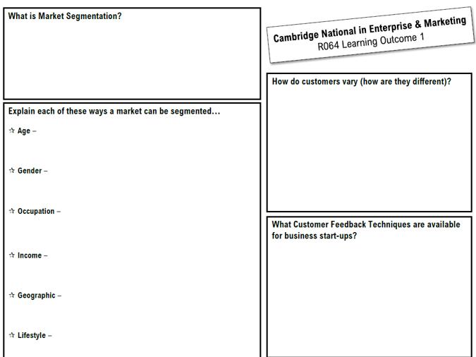 R064 - LO1 Blank Knowledge Organiser (Revision) - Cambridge National in Enterprise & Marketing J819