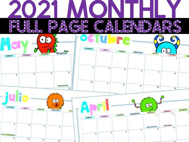 2021 Cute Monster Monthly Calendars English and Spanish