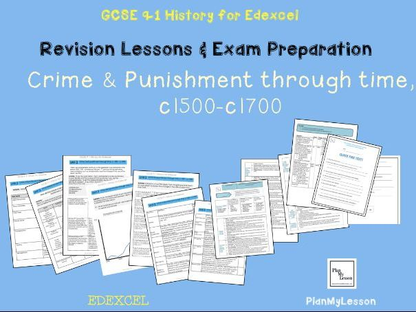 Edexcel 9-1 GCSE Crime and punishment through time, c1500 - c1700 revision pack