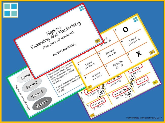 Algebra Expand Factorise Two Pairs of Brackets Noughts and Crosses PowerPoint Games