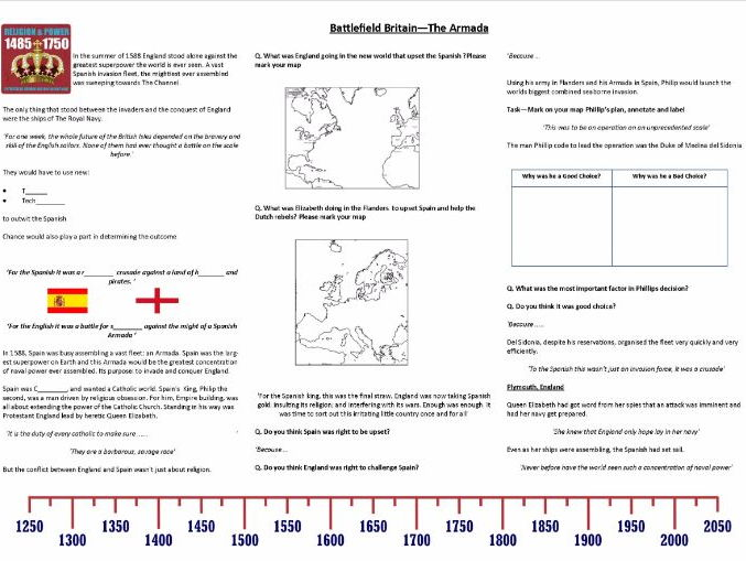 battlefield britain the armada 1588 worksheet to support the bbc documentary by awithey. Black Bedroom Furniture Sets. Home Design Ideas