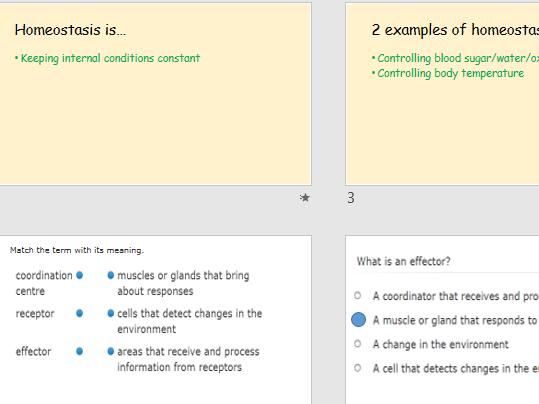 AQA  Science Trilogy-Biology-Unit B10- Homeostasis and Nervous System-revision- HIGHER