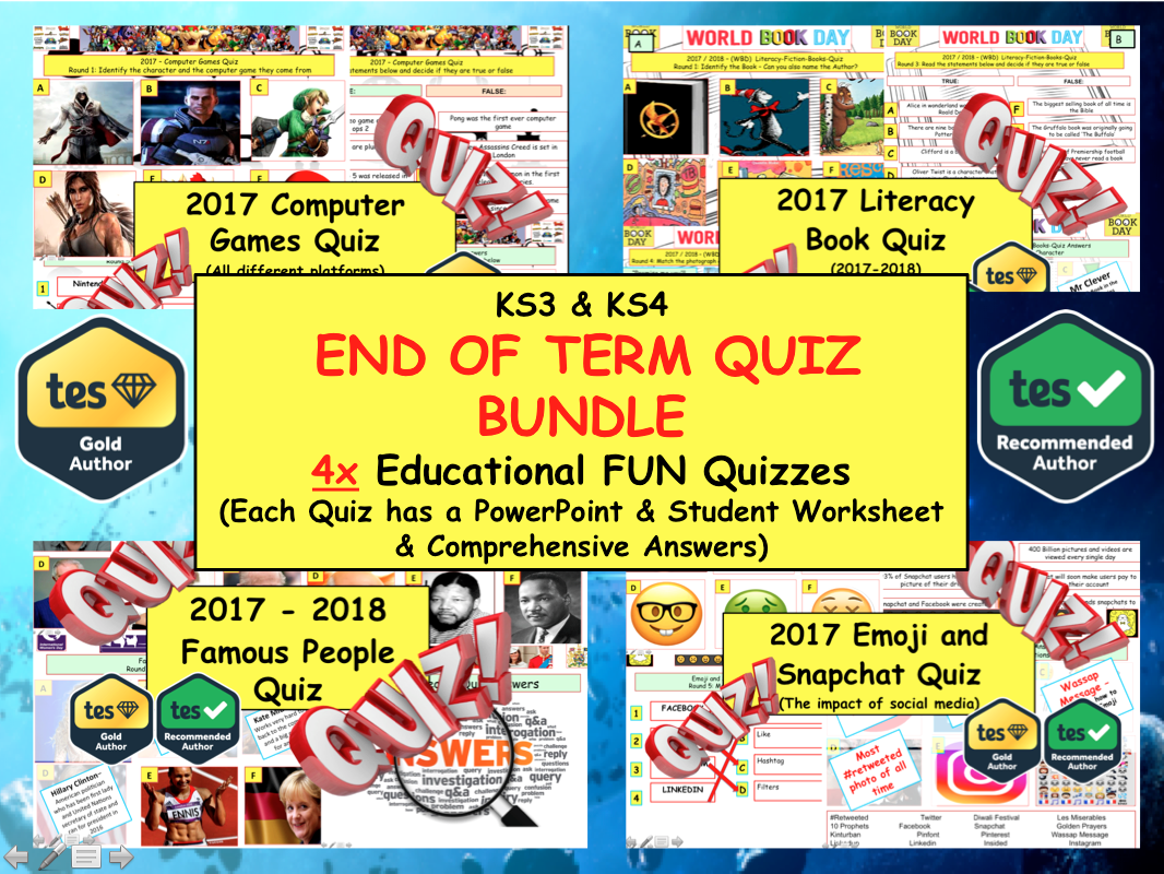 End of Term Summer Quiz: Quizzes Computer games, Disney, Literacy and Celebrity